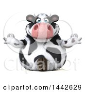 Clipart Of A 3d Holstein Cow Character Meditating On A White Background Royalty Free Illustration