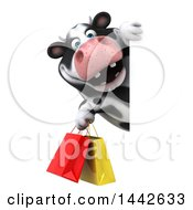 Clipart Of A 3d Holstein Cow Character Carrying Shopping Bags On A White Background Royalty Free Illustration