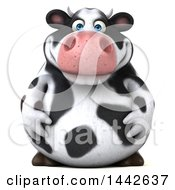 Clipart Of A 3d Holstein Cow Character On A White Background Royalty Free Illustration by Julos