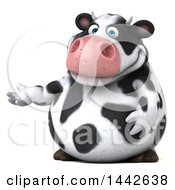 Clipart Of A 3d Holstein Cow Character Presenting On A White Background Royalty Free Illustration by Julos