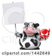 Clipart Of A 3d Holstein Cow Character Holding A Devil Head On A White Background Royalty Free Illustration