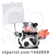Poster, Art Print Of 3d Holstein Cow Character Holding A Piggy Bank On A White Background