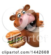 3d Brown Cow Character Holding A Double Burger On A White Background