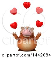 Poster, Art Print Of 3d Brown Cow Character Juggling Hearts On A White Background