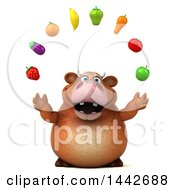 3d Brown Cow Character Juggling Produce On A White Background