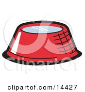 Red Metal Dog Bowl With Fresh Water Clipart Illustration