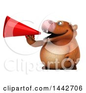 3d Brown Cow Character Using A Megaphone On A White Background