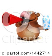 3d Brown Cow Character Holding A Milk Carton On A White Background