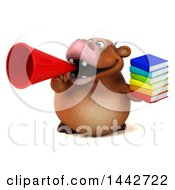 3d Brown Cow Character Holding A Stack Of Books On A White Background