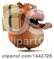 3d Brown Cow Character Holding Boxes On A White Background
