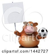 3d Brown Cow Character Holding A Soccer Ball On A White Background