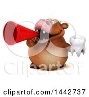 3d Brown Cow Character Holding A Tooth On A White Background