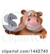 Poster, Art Print Of 3d Brown Cow Character Holding A Dollar Symbol On A White Background