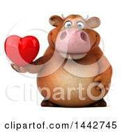 Clipart Of A 3d Brown Cow Character Holding A Heart On A White Background Royalty Free Illustration