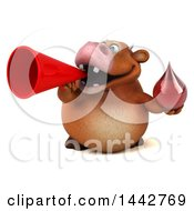 3d Brown Cow Character Holding A Blood Drop On A White Background