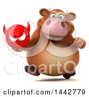 Clipart Of A 3d Brown Cow Character Holding A Devil Head On A White Background Royalty Free Illustration