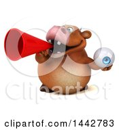 3d Brown Cow Character Holding An Eyeball On A White Background
