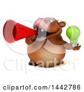 3d Brown Cow Character Holding A Light Bulb On A White Background