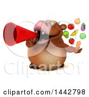3d Brown Cow Character Holding Produce On A White Background