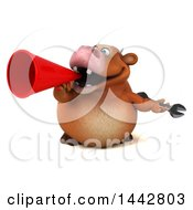 3d Brown Cow Character Holding A Wrench On A White Background