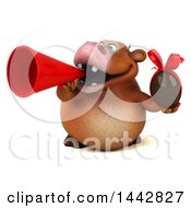 3d Brown Cow Character Holding A Chocolate Egg On A White Background