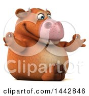 Clipart Of A 3d Brown Cow Character Meditating On A White Background Royalty Free Illustration