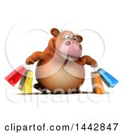 3d Brown Cow Character Carrying Shopping Bags On A White Background