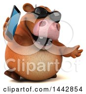 3d Brown Cow Character Holding A Cell Phone On A White Background