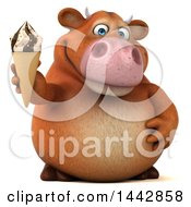 3d Brown Cow Character Holding A Waffle Ice Cream Cone On A White Background