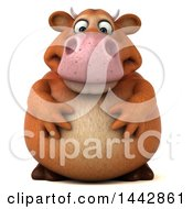 Clipart Of A 3d Brown Cow Character On A White Background Royalty Free Illustration by Julos