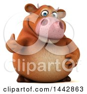 Clipart Of A 3d Brown Cow Character Giving A Thumb Up On A White Background Royalty Free Illustration by Julos