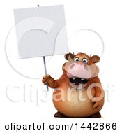 3d Brown Cow Character Holding A Blank Sign On A White Background