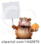 3d Brown Cow Character Holding A Navel Orange On A White Background