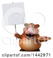 3d Brown Cow Character Holding A Pizza On A White Background
