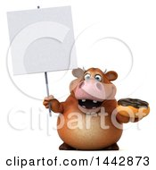 3d Brown Cow Character Holding A  On A White Background