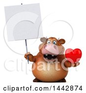 Poster, Art Print Of 3d Brown Cow Character Holding A Heart On A White Background