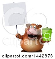 3d Brown Cow Character Holding A Recycle Bin On A White Background