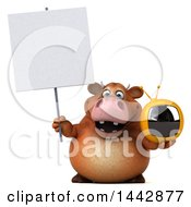 3d Brown Cow Character Holding A Tv On A White Background