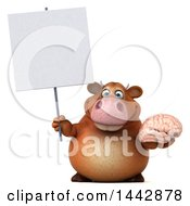 3d Brown Cow Character Holding A Brain On A White Background