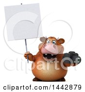3d Brown Cow Character Holding A Camera On A White Background