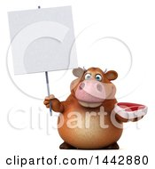 3d Brown Cow Character Holding A Beef Steak On A White Background