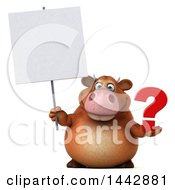 3d Brown Cow Character Holding A Question Mark On A White Background