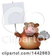 3d Brown Cow Character Holding A Cloud On A White Background
