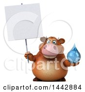 3d Brown Cow Character Holding A Water Drop On A White Background