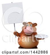 3d Brown Cow Character Holding A Plate On A White Background