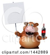 3d Brown Cow Character Holding A Wine Bottle On A White Background