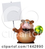 3d Brown Cow Character Holding A Green Earth Globe On A White Background