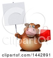 Clipart Of A 3d Brown Cow Character Holding A Shopping Or Gift Bag On A White Background Royalty Free Illustration