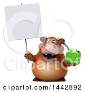 3d Brown Cow Character Holding A Gas Can On A White Background
