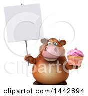 3d Brown Cow Character Holding A Cupcake On A White Background